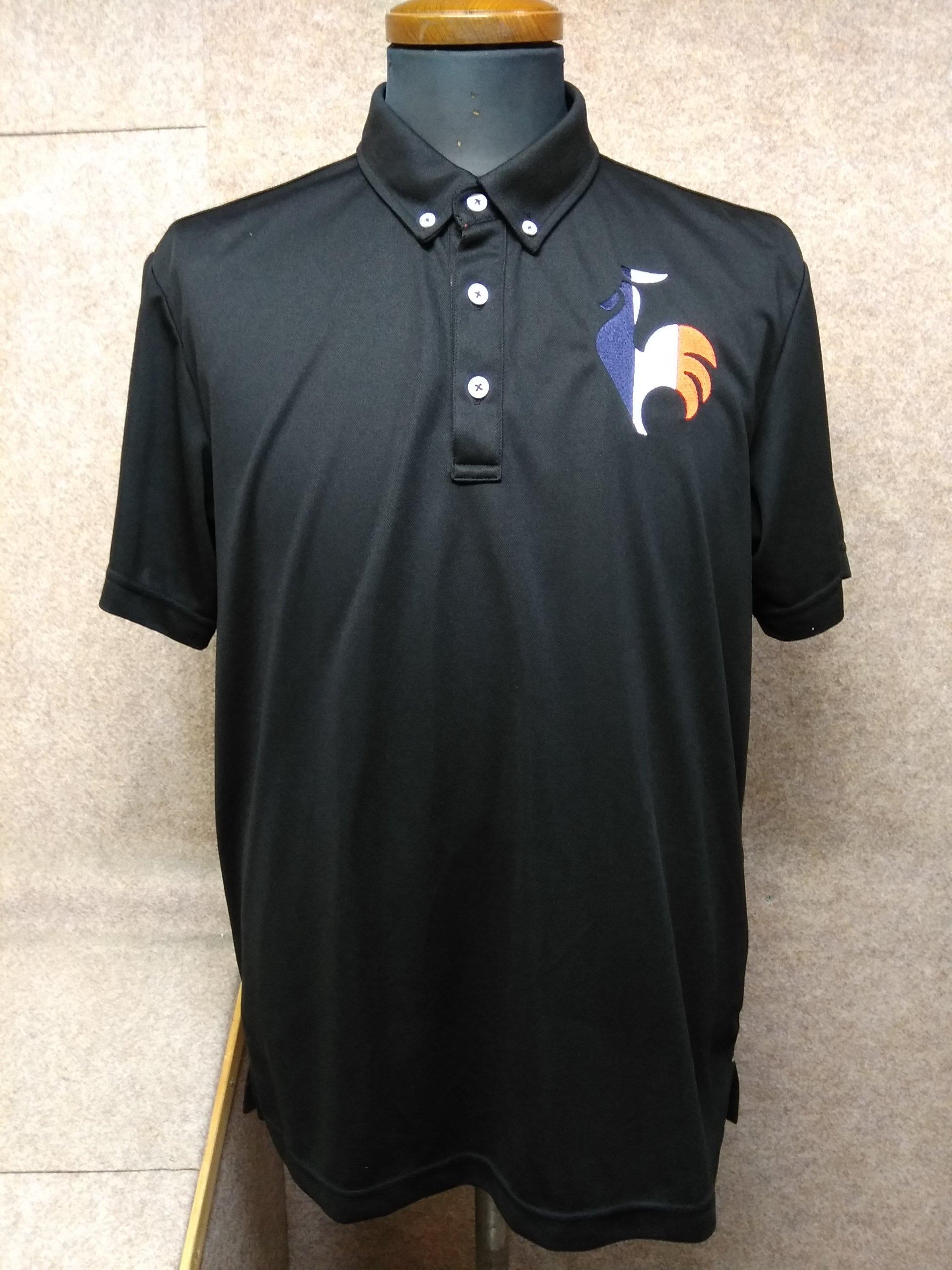 ルコック スポルティフ デサント社 ポロシャツ メンズO 黒 u1169a