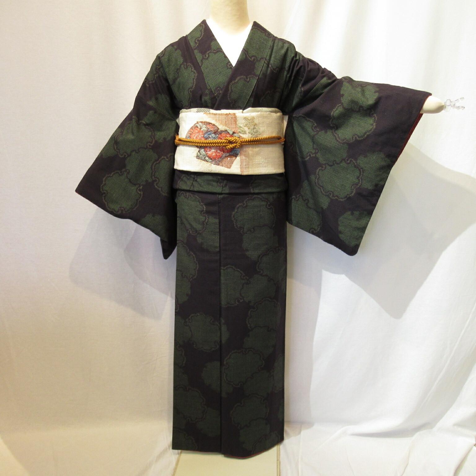 結城紬小紋1582と名古屋帯4点セット