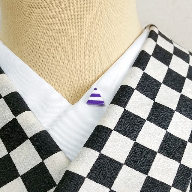 三角ボーダー半衿ピン【むらさき】