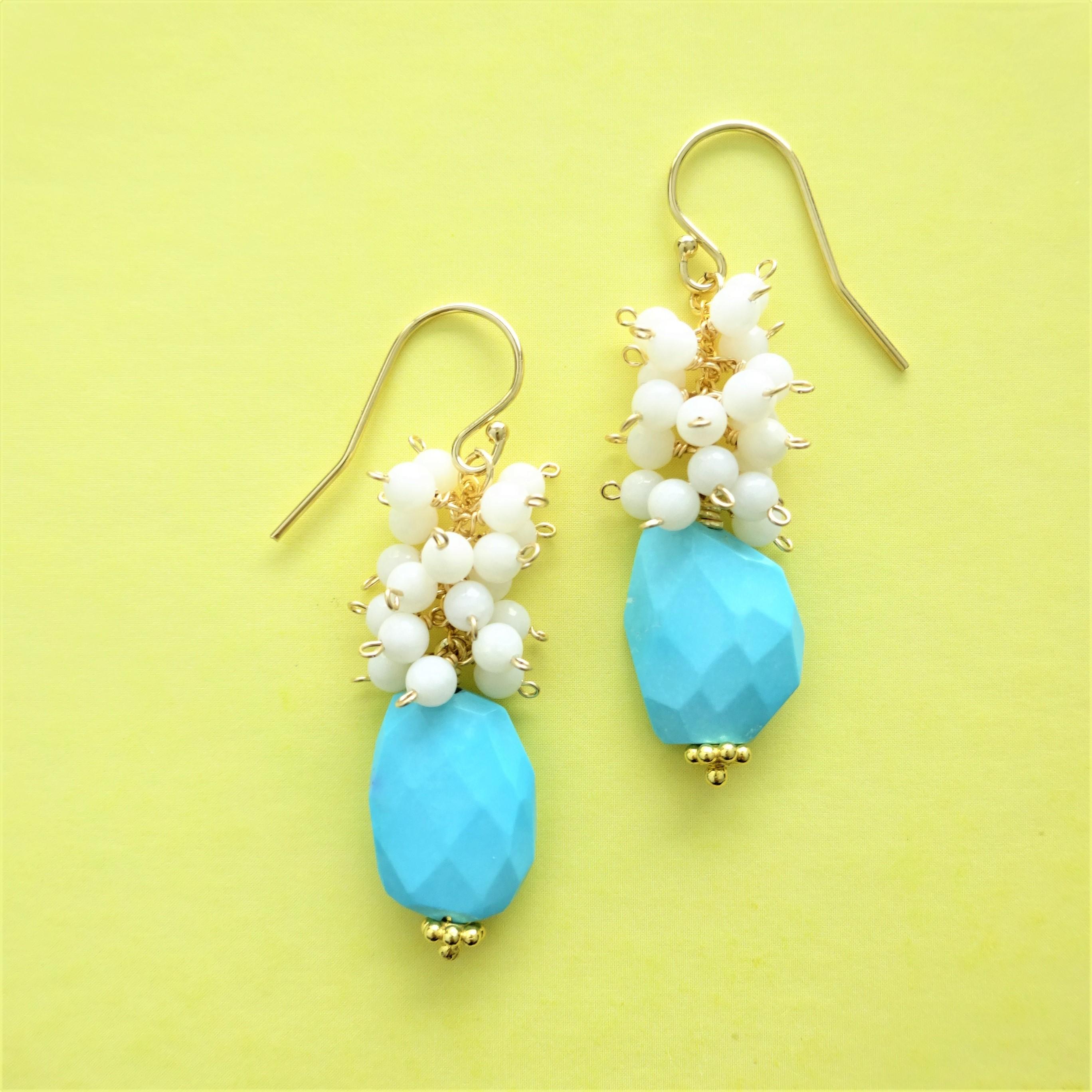 送料無料 14kgf*Sleeping Beauty Turquoise volume pierced earring