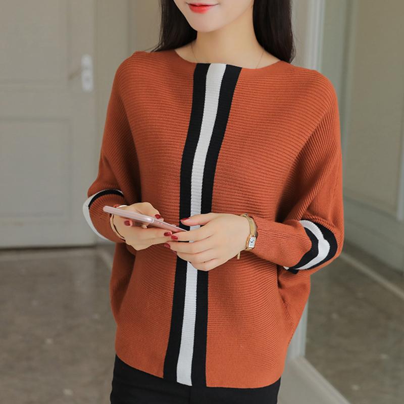 【トップス】ボートネック配色ルーズ合わせやすいセーター14951364