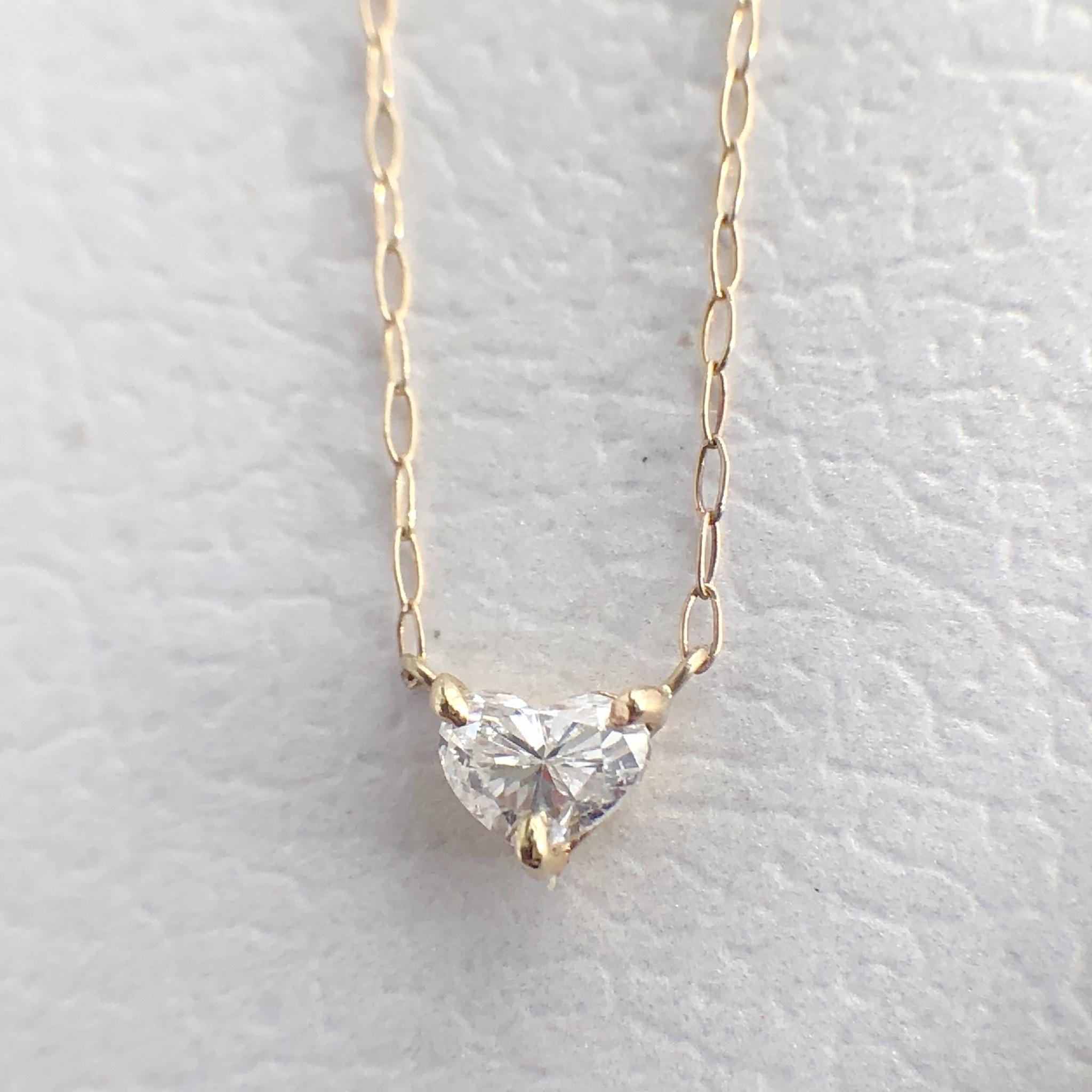 ハートシェイプカット ダイヤモンド ネックレス 0.16ct K10イエローゴールド  チェカ 鑑別書付