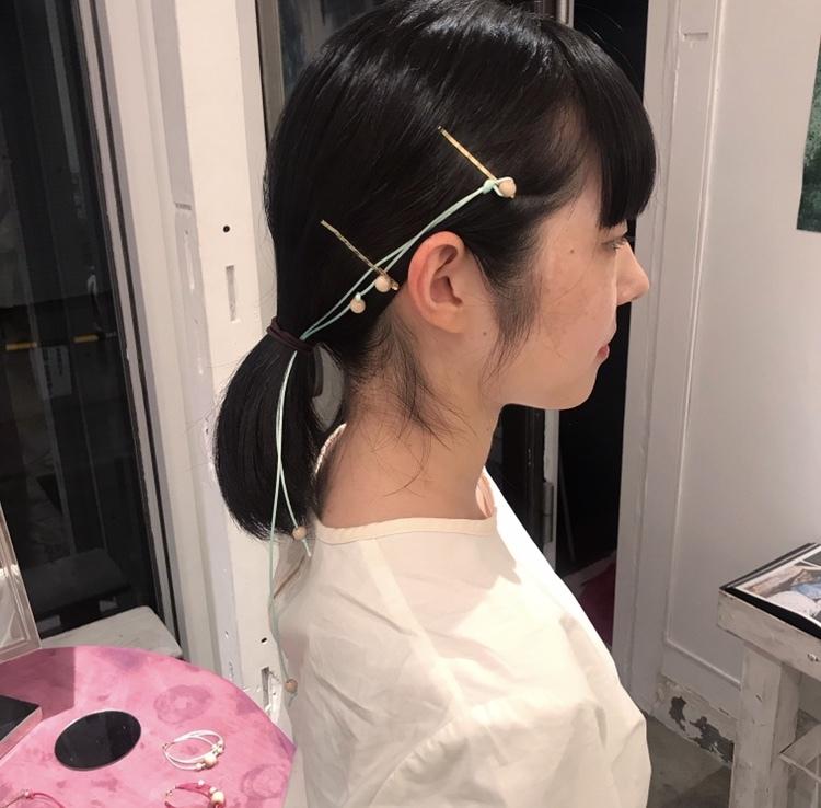 19SS line wood hair pin〈Mint〉
