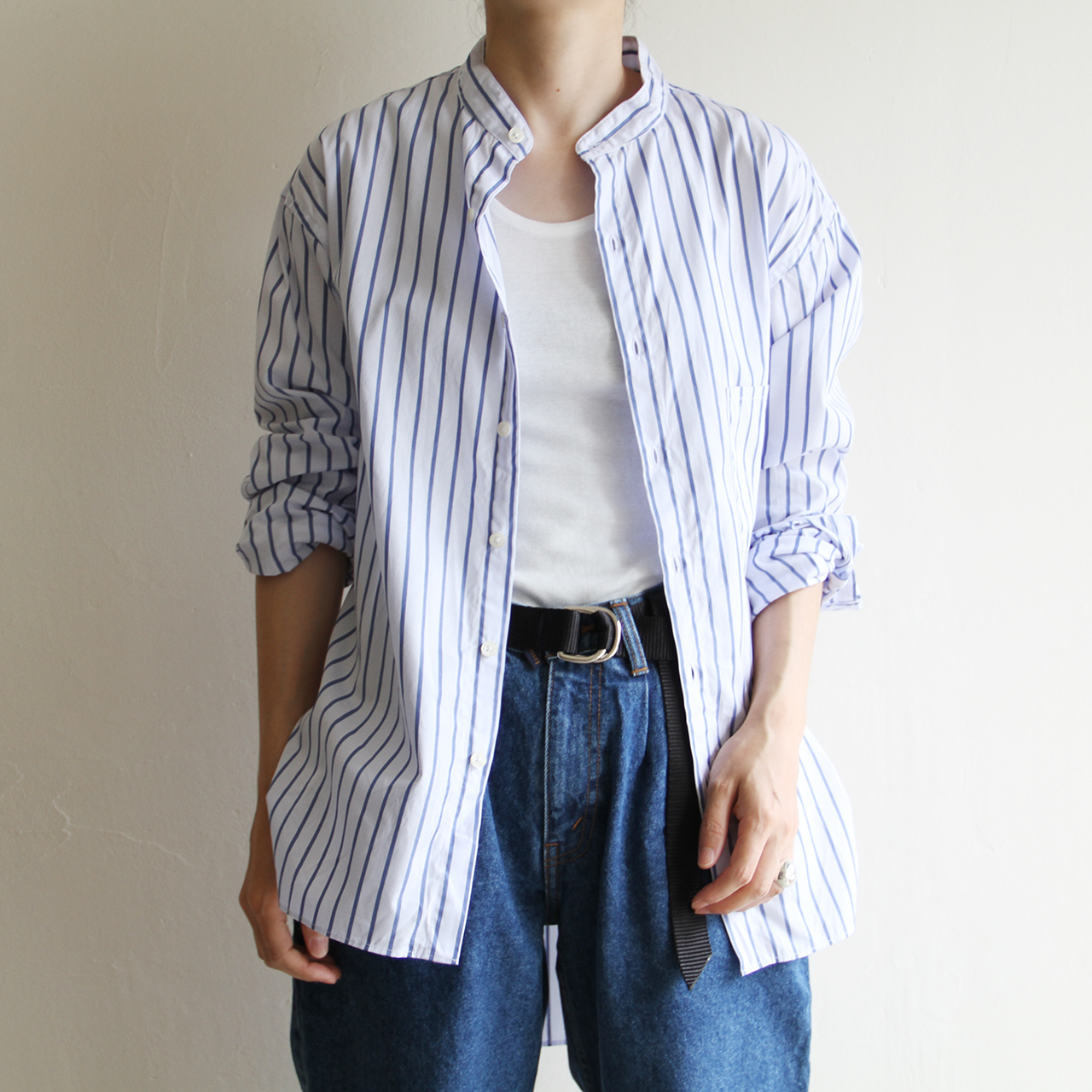 H.UNIT【 unisex 】stripe broadcloth band/c shirts