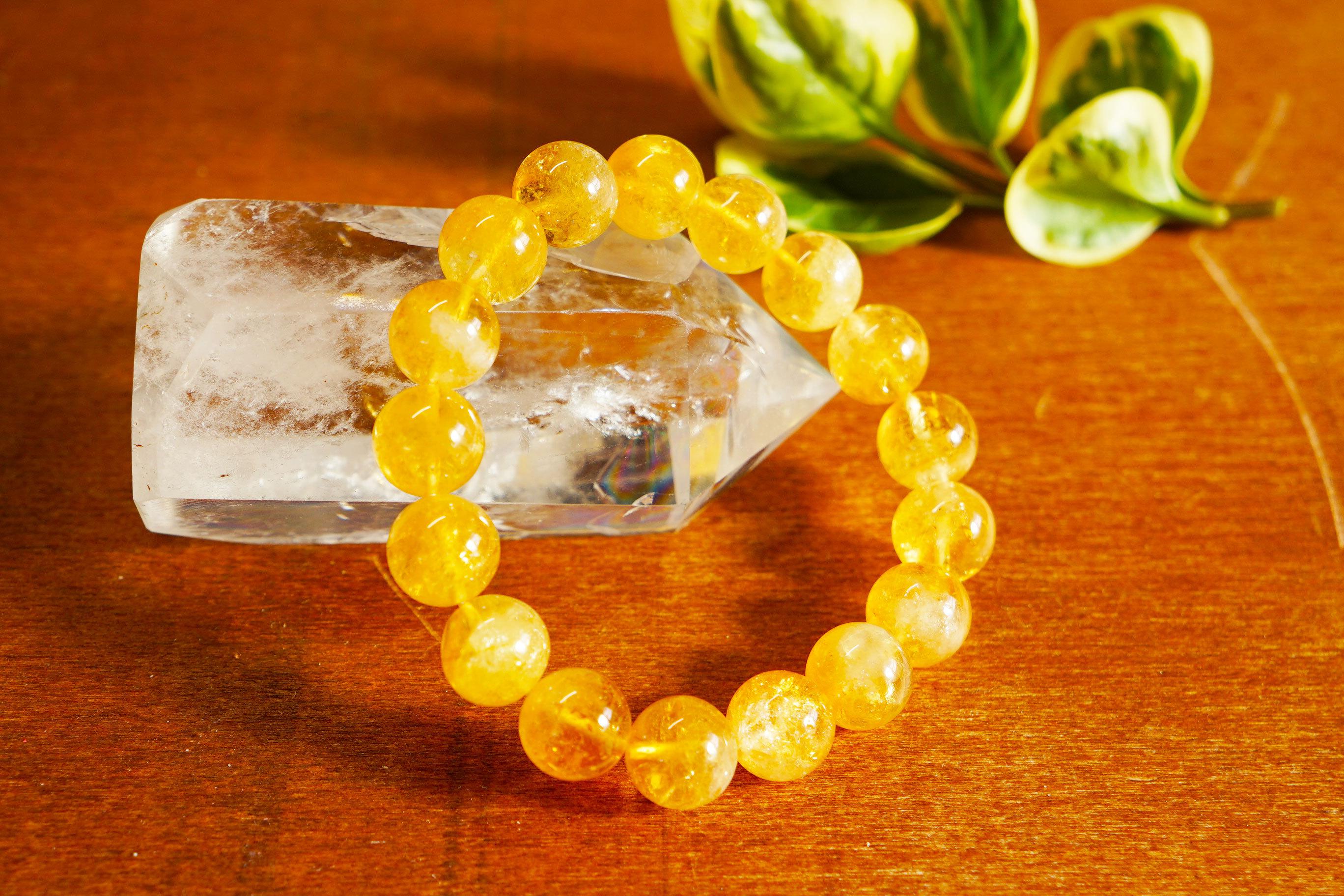 富と繁栄をもたらす「幸運の石」シトリン(黄水晶)10mmブレスレット