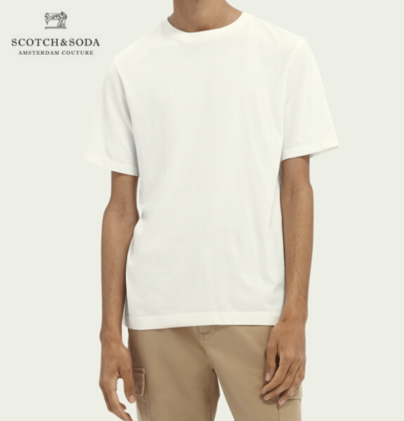 スコッチ&ソーダ SCOTCH&SODA 半袖 Tシャツ クルーネック オーガニックコットン 無地 Tシャツ Off White 292-34404