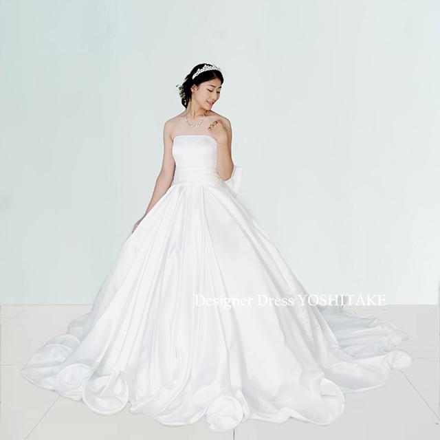 【オーダー制作】ウエディングドレス シンプル白スカートはボリュームたっぷり 挙式用 ※制作期間3週間から6週間