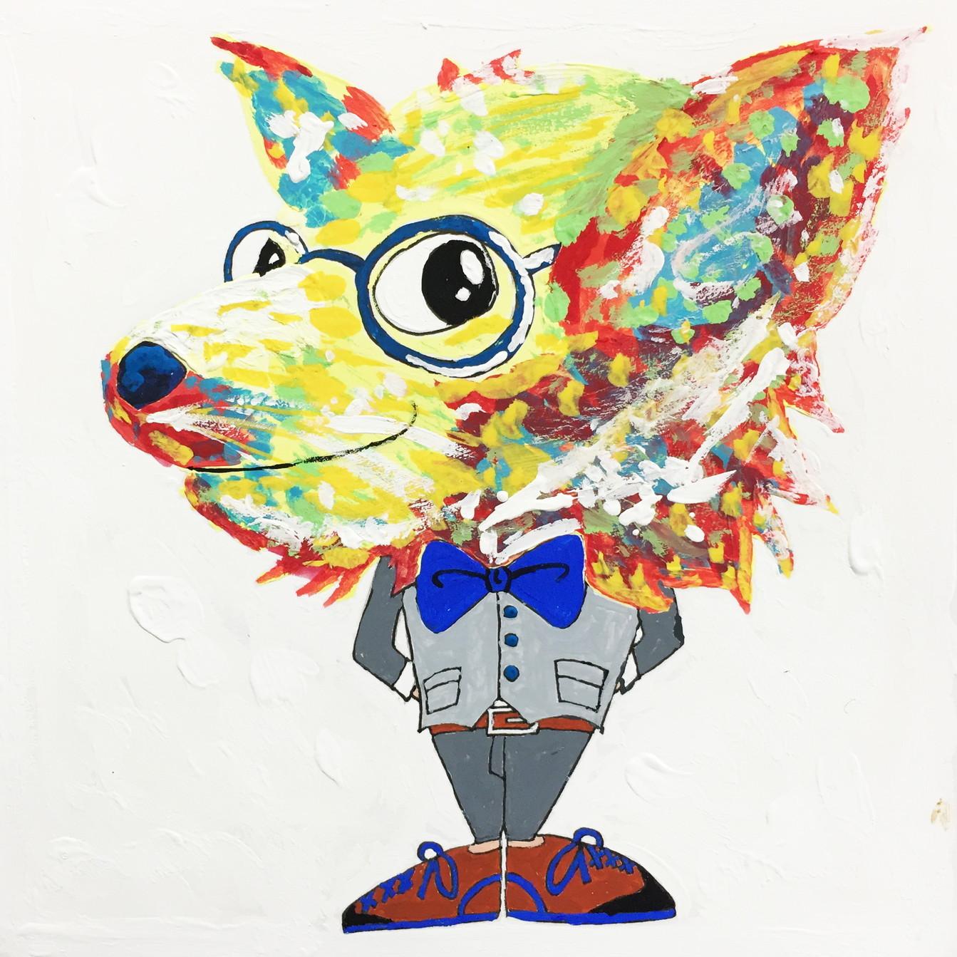 絵画 インテリア アートパネル 雑貨 壁掛け 置物 おしゃれ アクリル画 イラスト 犬 動物 ロココロ 画家 : yuki 作品 : 希望