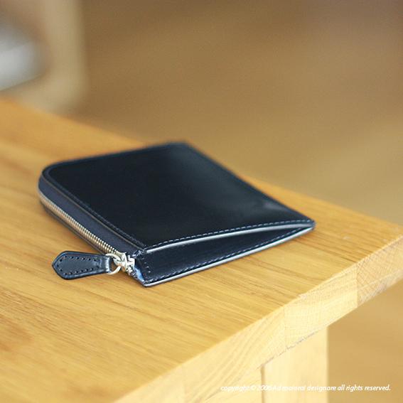 """L型財布 """"Leatus"""" ・ネイビー×サックス"""