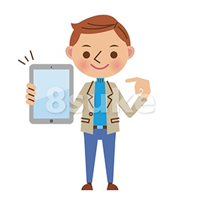 イラスト素材:タブレット端末を持つ若い男性(ベクター・JPG)