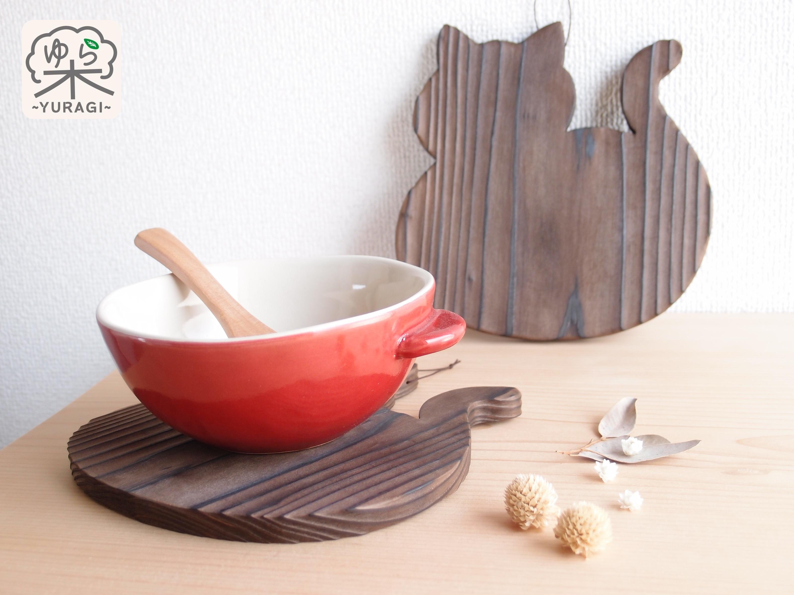 【テーブルの愛猫】まんまるネコ鍋敷き Lサイズ【智頭杉】