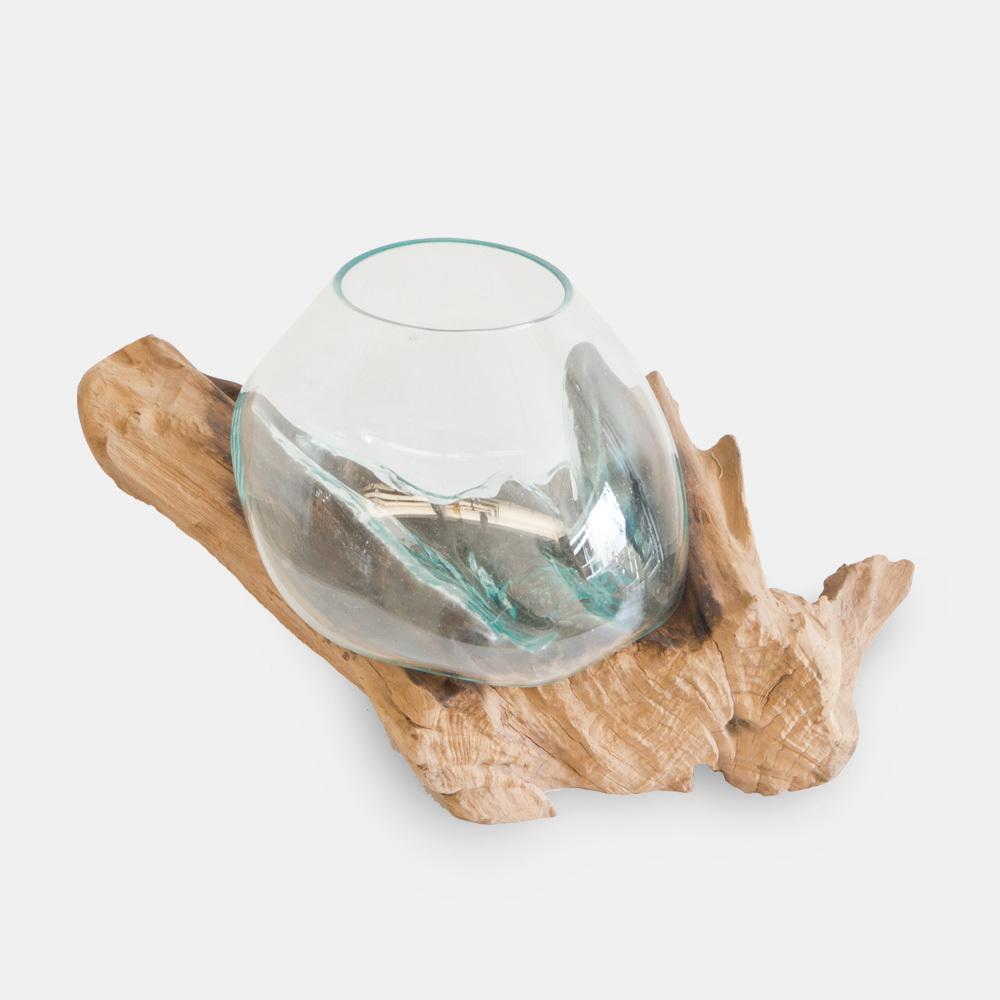 流木と吹きガラスのフラワーベース・テラリウム クリアLサイズ