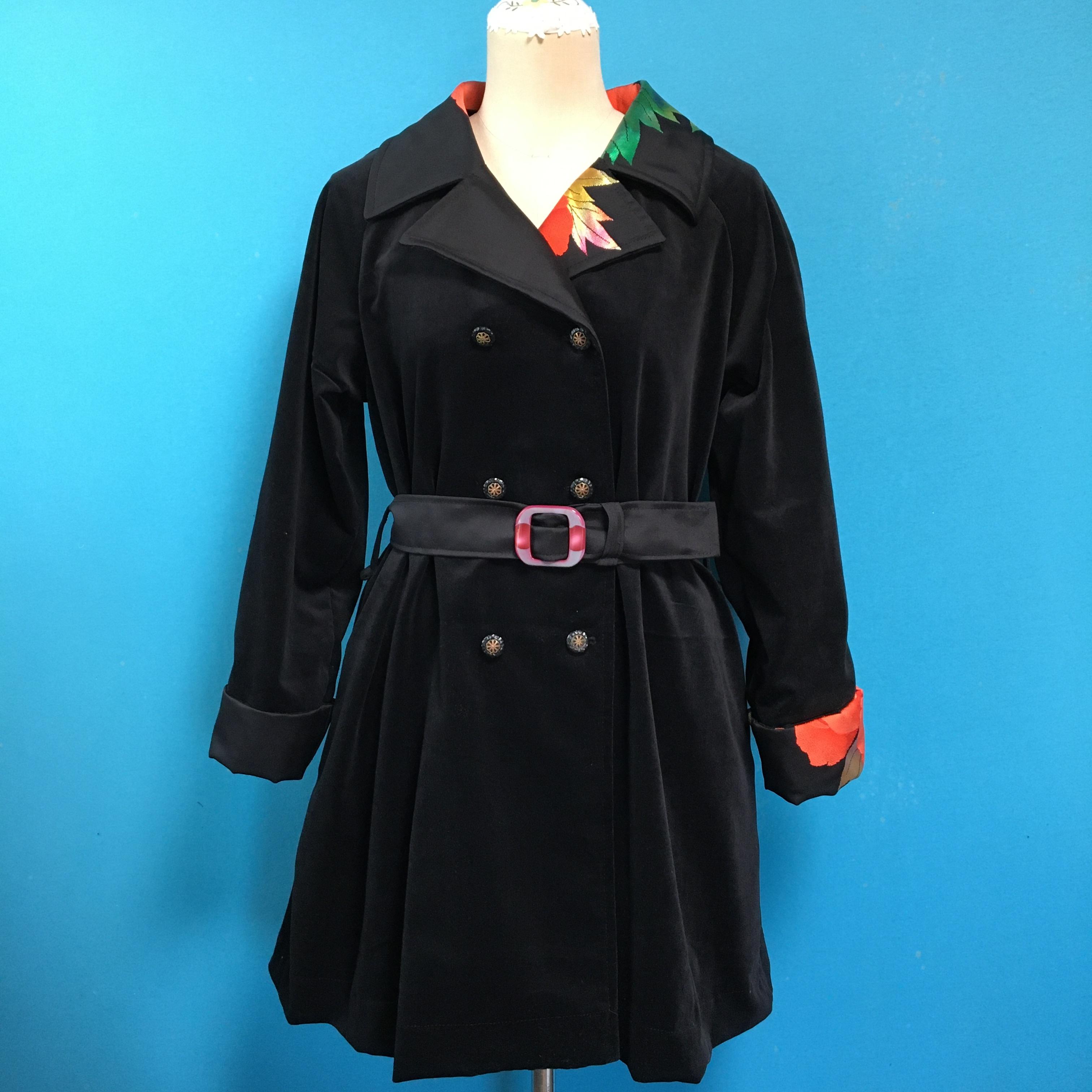 Vintage 帯と別珍のレトロなコート
