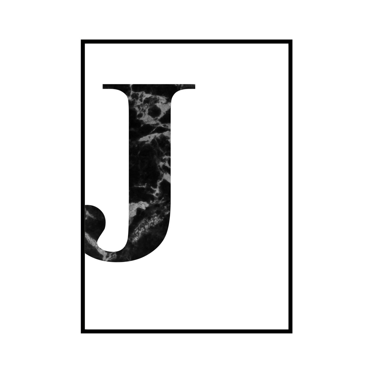 """J"" 黒大理石 - Black marble - ALPHAシリーズ [SD-000511] B4サイズ ポスター単品"