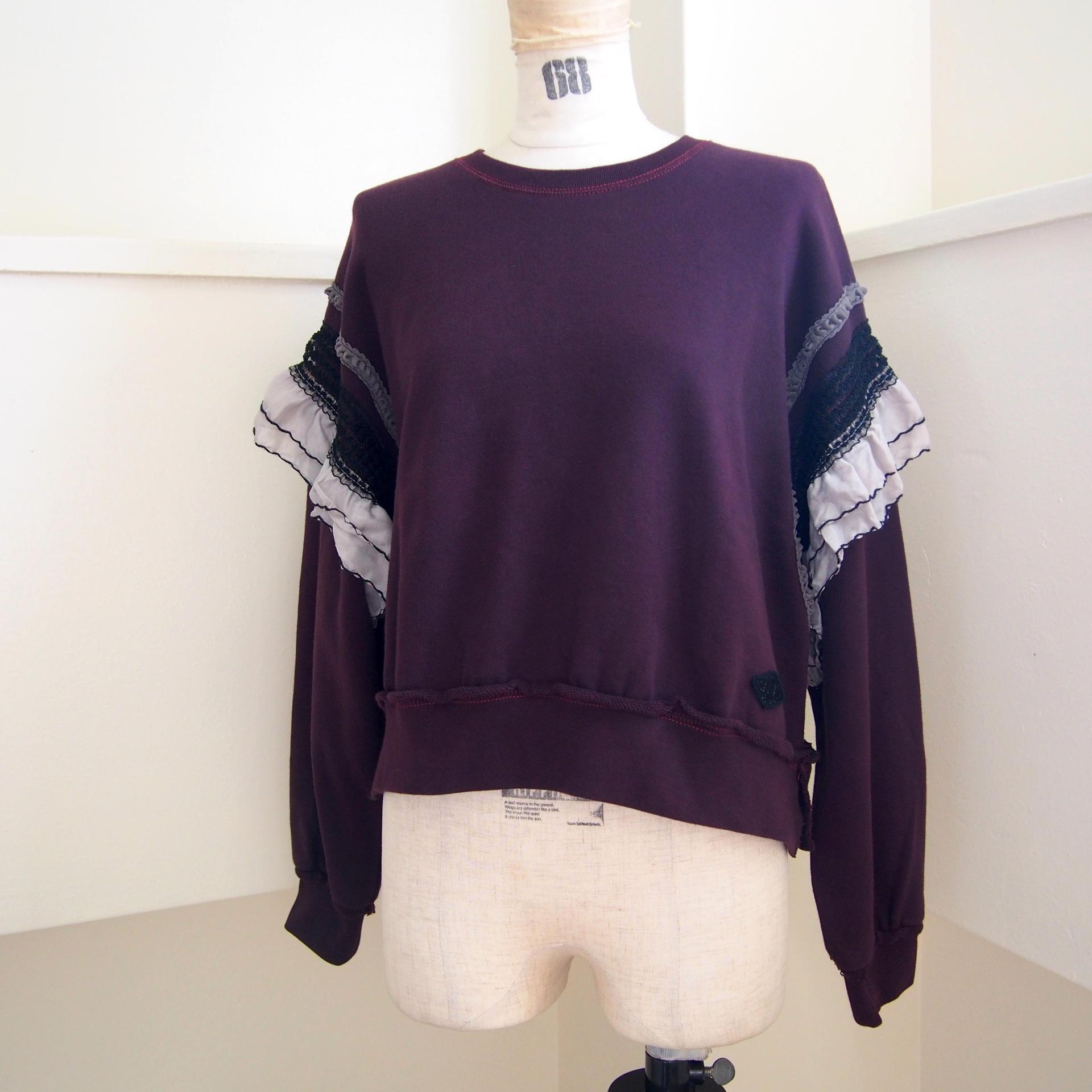 【RehersalL】 pleats shoulder pullover (wine) /【リハーズオール】プリーツショルダープルオーバー(ワイン)