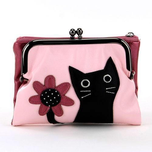 ねこ がま口財布 ピンク
