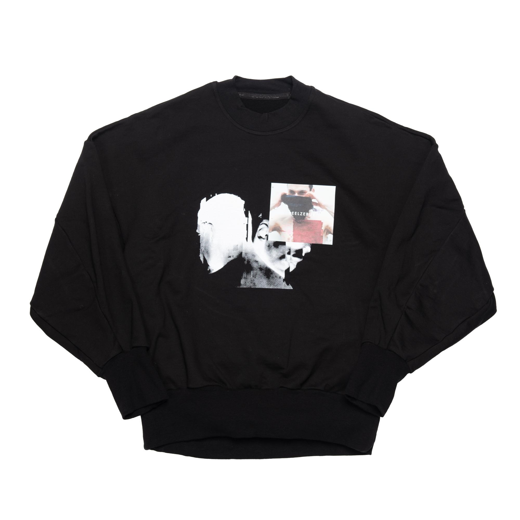 658CPM1-BLACK / プリントシームドスリーブ スウェットシャツ