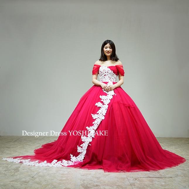 【オーダー制作】ウエディングドレス(無料パニエ) 若干くすみのある赤チュールとサテン生地に白いレース(パニエ付)結婚式披露宴 二次会/披露宴 ※制作期間3週間から6週間