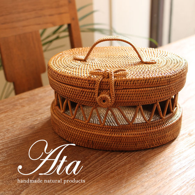 アタ製 かごバッグオーバル A40 (コスメボックス、裁縫道具、お出かけ)
