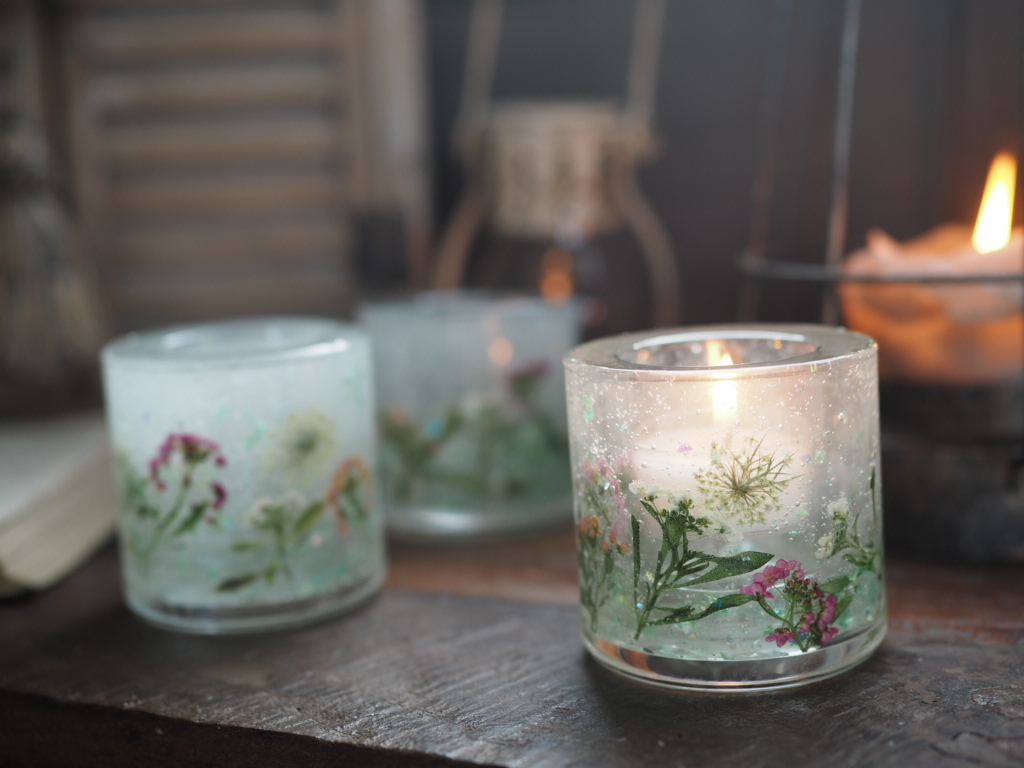 Pressed Flowers Candle Holder 3