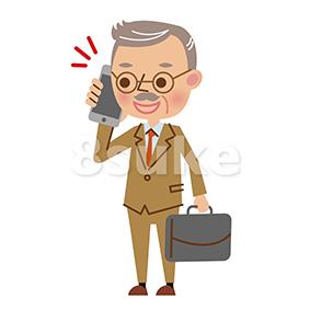 イラスト素材:スマートフォンで通話する熟年のビジネスマン(ベクター・JPG)
