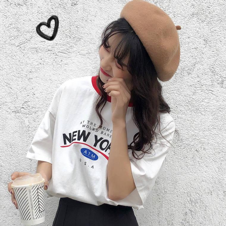 【送料無料】映えるプリントT ♡ カジュアル メンズライク オーバーサイズ 配色 プリント ロゴ 半袖 Tシャツ トップス