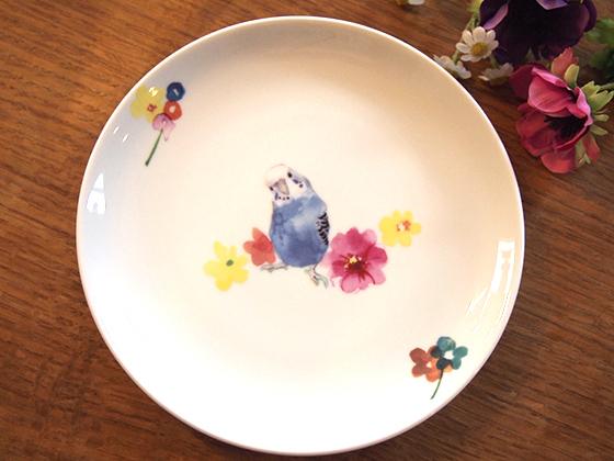 セキセイインコとお花 ブルー 大サイズ お皿