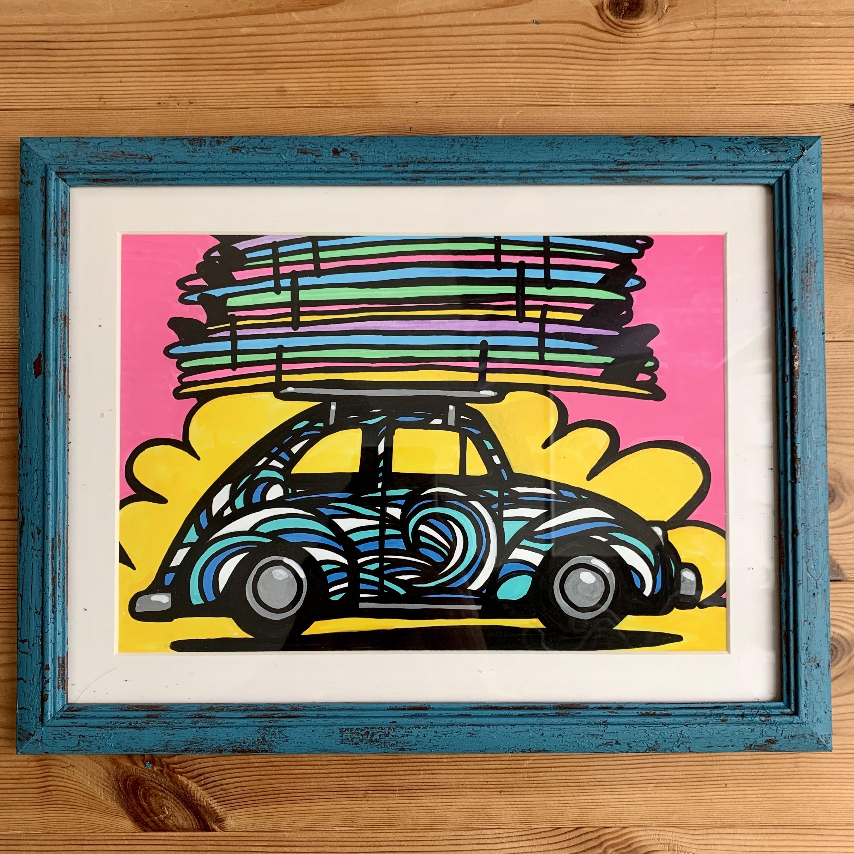 【原画】VW Beatle inside wave(A4/フレーム付)