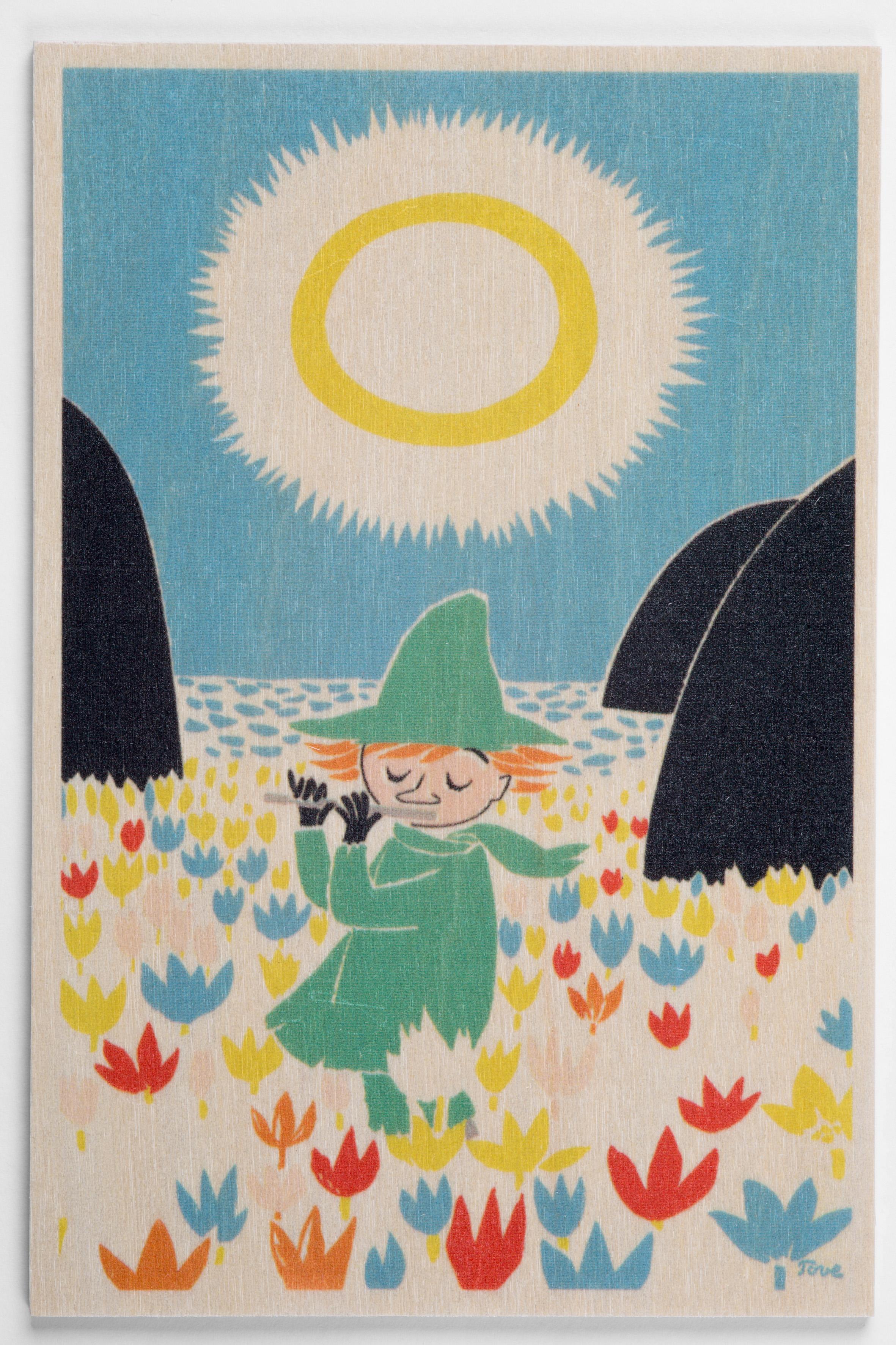 白樺ポストカード 10x15cm ムーミン 「スナフキンと横笛」