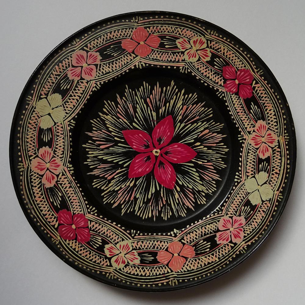 チェコ ハンドペイント お花柄の木製プレート