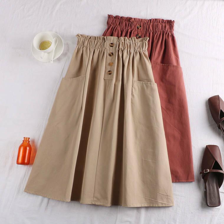【送料無料】選べる8カラー ♡ カジュアル シンプル Aライン ハイウエスト チノ スカート
