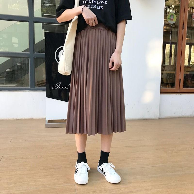 【bottoms】カジュアル無地ハイウエスト膝下丈Aラインスカート12925510