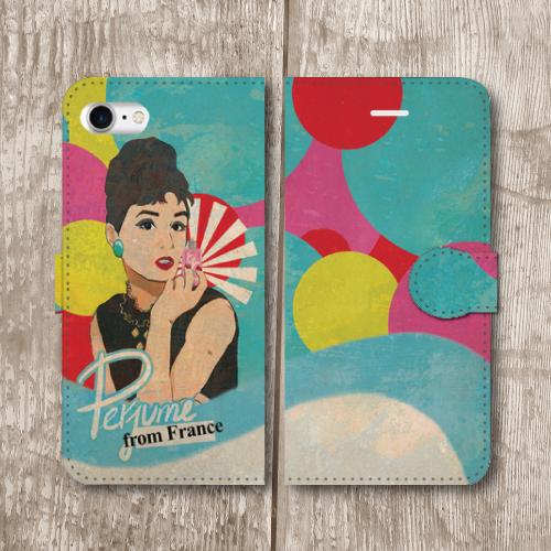 レトロポスター/アメリカンポップ/香水/ビンテージ調/レトロ/水色/iPhoneスマホケース(手帳型ケース)