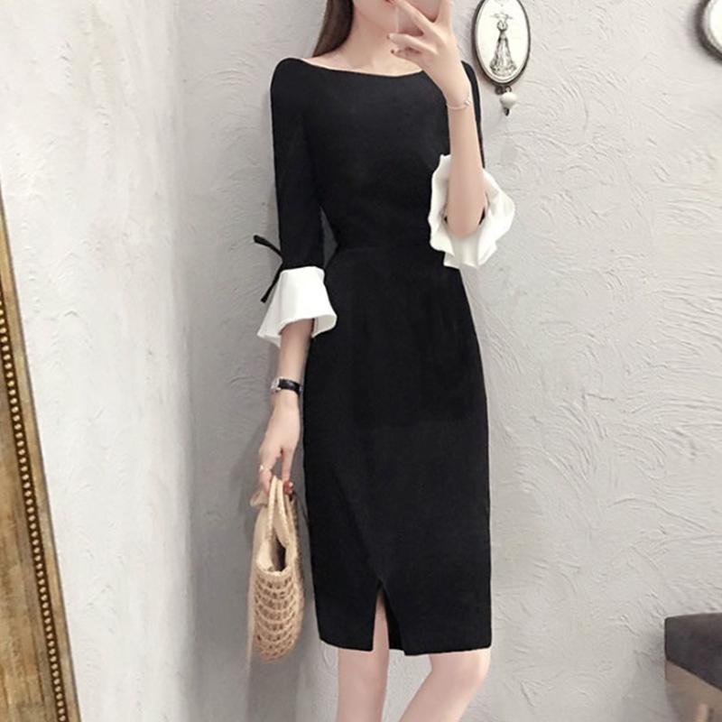 【ワンピース】ファッション切り替え配色デートワンピース24360031