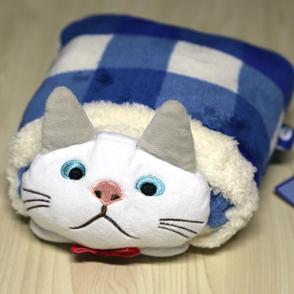 猫ぬいぐるみブランケット(ターチャンブルー)