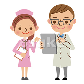 イラスト素材:タブレットを使いながら会話する医者と看護師(ベクター・JPG)