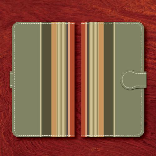 レトロストライプ/昭和レトロ/レトロ家具調/黄緑系色/Androidスマホケース(手帳型ケース)