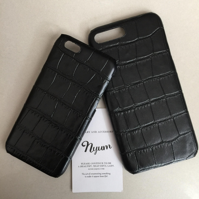 【iphone6/6sカバー】合皮ブラック型押しクロコマットiphoneケース フェイクレザー