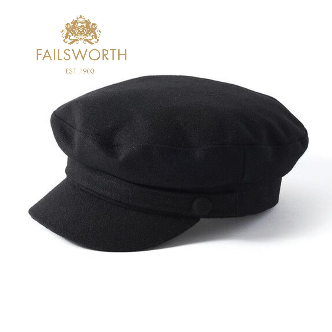 FAILSWORTH メルトン マリンキャップ / モッズキャップ 〈Black〉