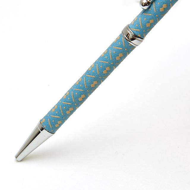 印伝油性ボールペン ひょうたん 青革×白漆