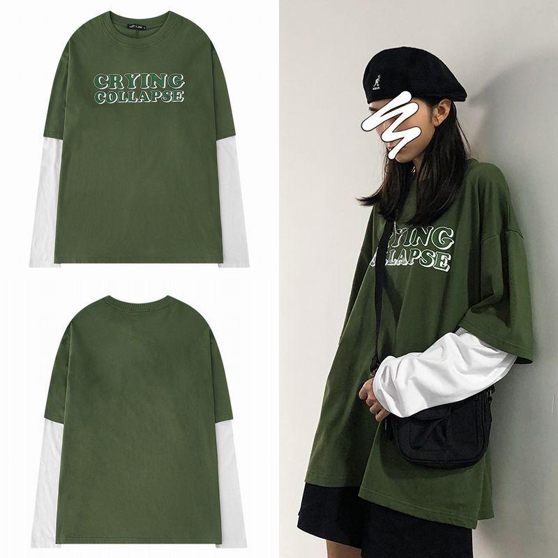 ユニセックス 長袖 Tシャツ メンズ レディース 重ね着風 フェイクレイヤード オーバーサイズ 大きいサイズ ストリート