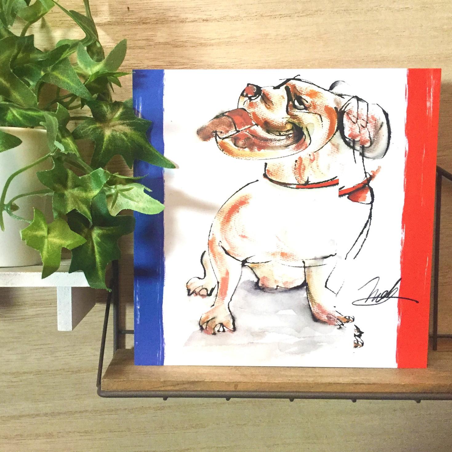 絵画 インテリア アートパネル 雑貨 壁掛け 置物 おしゃれ 犬 動物 フレンチブルドッグ 現代アート ロココロ 画家 : nob 作品 :  Re : frenchie