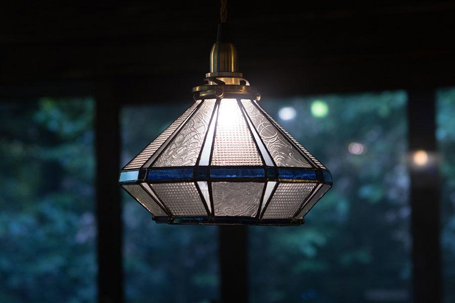 浪漫硝子‐さざ波(ステンドグラスの吊りランプ)(ペンダントライト) 01010033