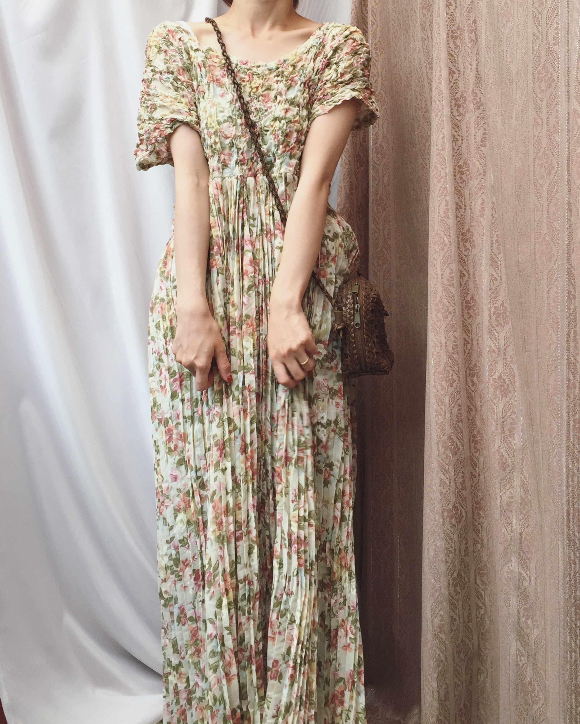 vintage 80s pleated flower onepiece