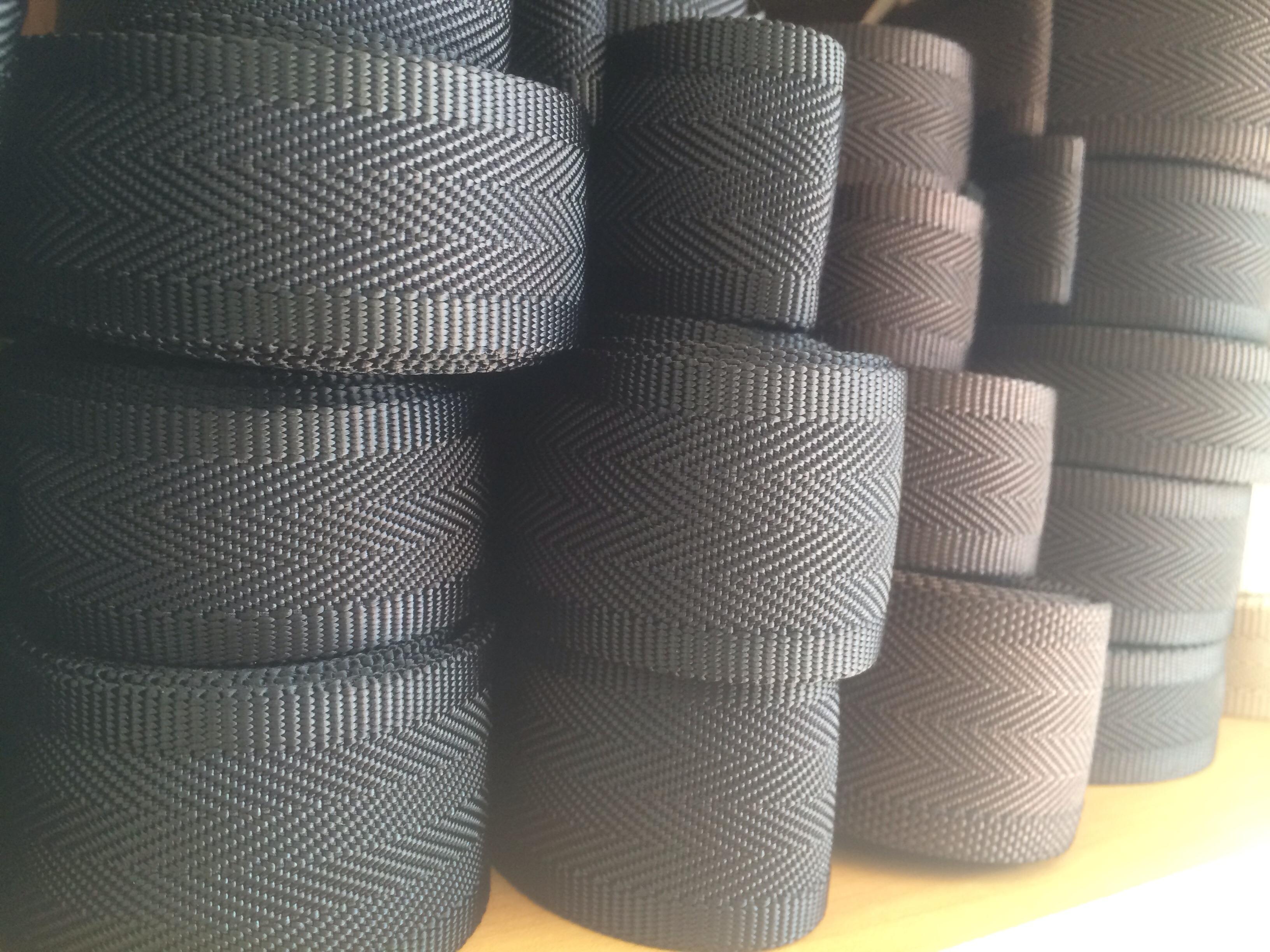 ナイロン 耳付ヘリンボン織 25mm幅 1反(50m) 黒