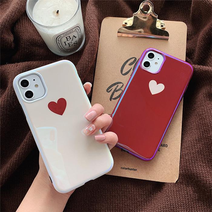 【お取り寄せ商品、送料無料】2カラー ハート かわいい ソフト iPhoneケース iPhone11