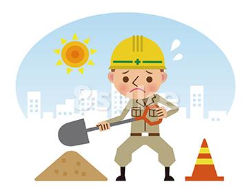 イラスト素材:シャベルを持って働く作業員/昼間背景・ネガティブ(ベクター・JPG)