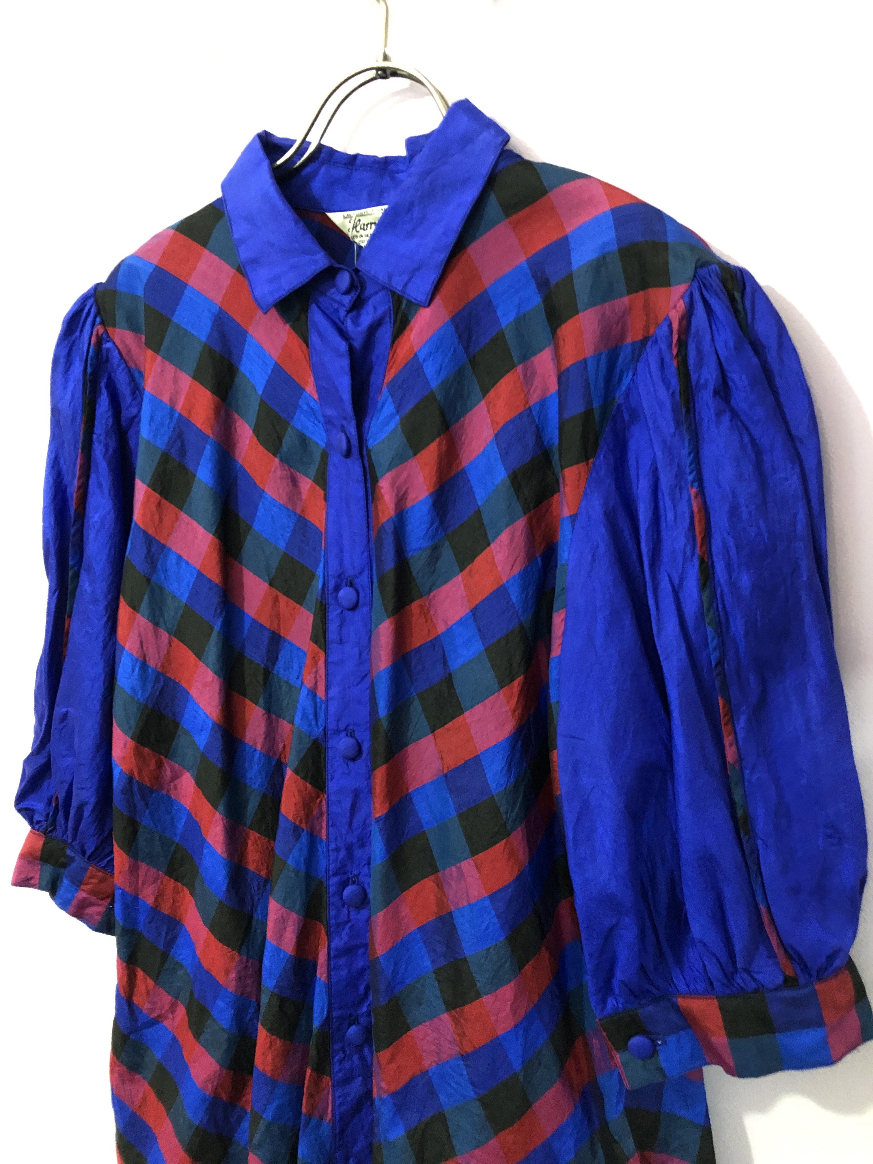 vintage plaid puff sleeve shirt