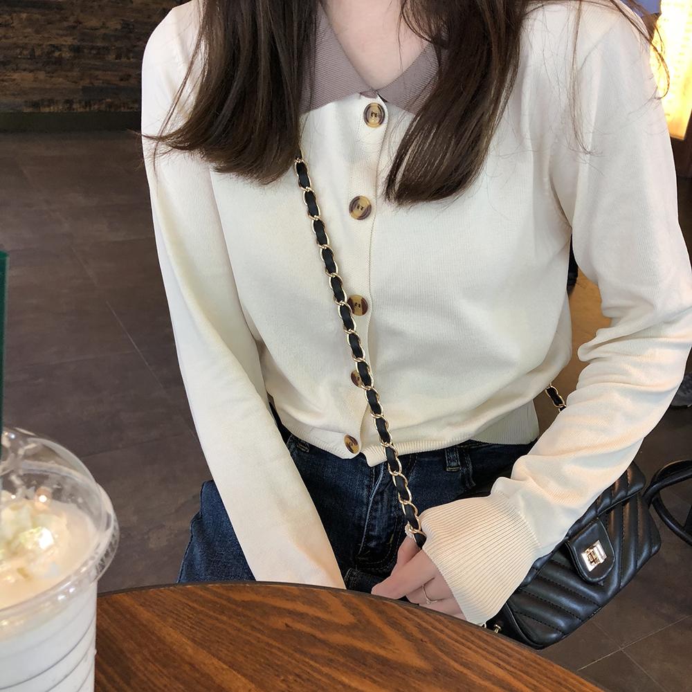 【送料無料】着回し便利 バイカラー シンプル ポロシャツ風 トップス