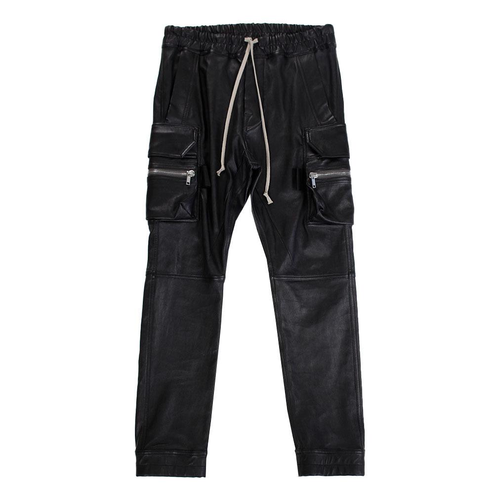 RICK OWENS Leather Cargo Jog